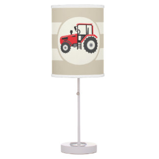 Red Farm Tractor on Tan Stripes Table Lamps