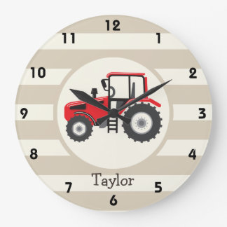 Red Farm Tractor on Tan Stripes Large Clock