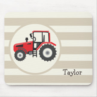 Red Farm Tractor on Tan Stripes Mouse Pad