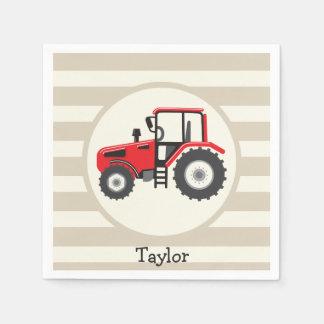 Red Farm Tractor on Tan Stripes Napkin
