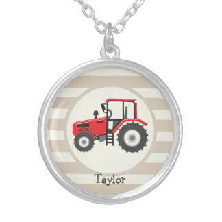 Red Farm Tractor on Tan Stripes Round Pendant Necklace