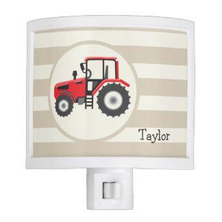Red Farm Tractor on Tan Stripes Night Light