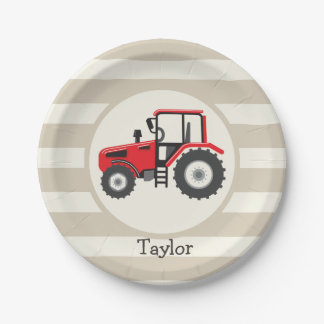 Red Farm Tractor on Tan Stripes Paper Plate