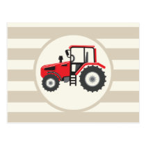 Red Farm Tractor on Tan Stripes Postcard