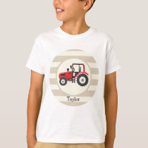 Red Farm Tractor on Tan Stripes T-Shirt