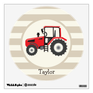 Red Farm Tractor on Tan Stripes Wall Decal
