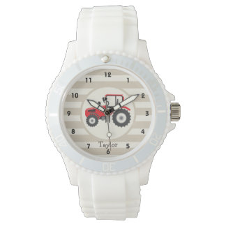 Red Farm Tractor on Tan Stripes Watch