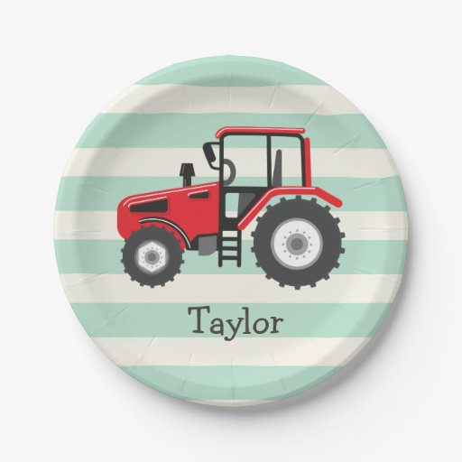 Red Tractor Plate Outlit : Red farm tractor paper plate zazzle