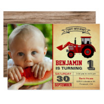 Red Farm Tractor Photo 1st First Birthday Party Invitation
