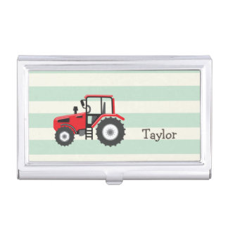 Red Farm Tractor Business Card Holders
