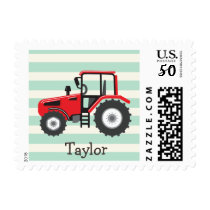 Red Farm Tractor Postage
