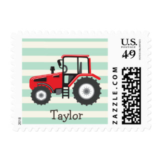 Red Farm Tractor Postage Stamp
