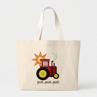 Red Farm Tractor T-shirts and Gifts Large Tote Bag