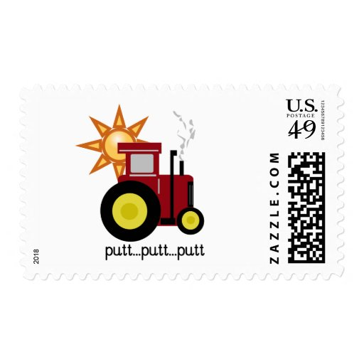 Red Farm Tractor T-shirts and Gifts Stamps