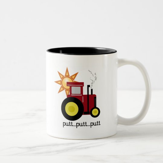 Red Farm Tractor T-shirts and Gifts Two-Tone Coffee Mug