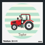"""Red Farm Tractor Wall Sticker<br><div class=""""desc"""">Cool,  colorful kid&#39;s red farm tractor,  country farmer theme  design on    pattern.  Perfect gift for baby,  toddler,  kids,  children,  teens,  or adults! Personalized the design by adding a child&#39;s name or custom text.  Visit our store,  Birthday Party House,  for more great customizable boy and girl products!</div>"""
