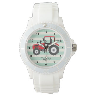 Red Farm Tractor Wrist Watch