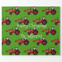 Red Farm Tractors on Green Christmas Wrapping Paper
