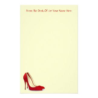 Red Fashion High Heel Pump Shoes Custom Wording Stationery