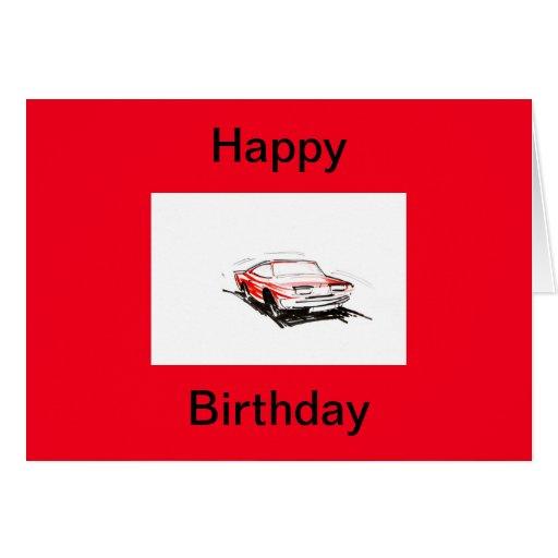 Red Fast Car Happy Birthday Card