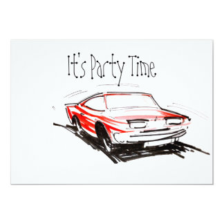 Red Fast Car Its Party Time Invitation