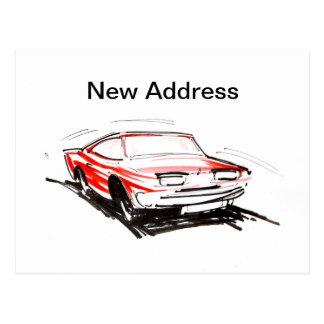 Red Fast Car New Address Card