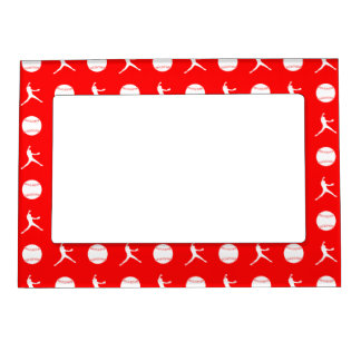 Red Fastpitch Pattern Magnetic Picture Frame