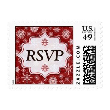 Red FAUX Burlap & Snowflakes Wedding RSVP Postage