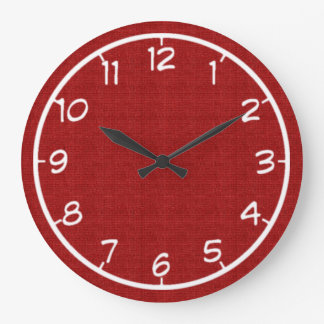 Red Faux Canvas Clock