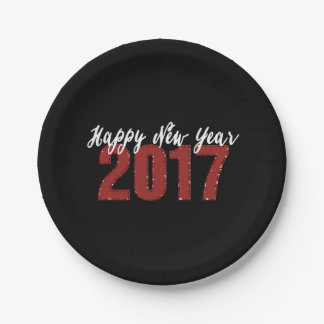 Red Faux Glitter 2017 Happy New Year Party Plates