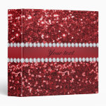 Red Faux Glitter and Diamonds Binder