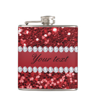 Red Faux Glitter and Diamonds Hip Flask