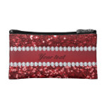 Red Faux Glitter and Diamonds Makeup Bag