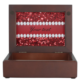 Red Faux Glitter and Diamonds Memory Box