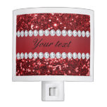 Red Faux Glitter and Diamonds Night Light