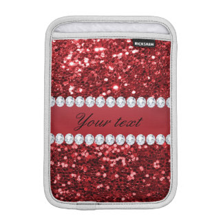 Red Faux Glitter and Diamonds Sleeve For iPad Mini