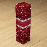 Red Faux Glitter and Diamonds Wine Gift Box