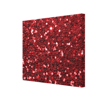 Red Faux Glitter Canvas Print
