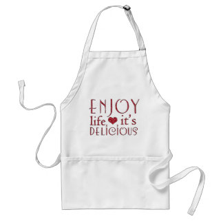 Red Faux Glitter Enjoy Life It's Delicious Adult Apron