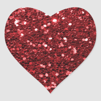 Red Faux Glitter Heart Sticker