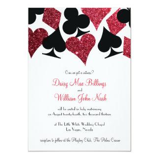 Red Faux Glitter Las Vegas Wedding Invitation