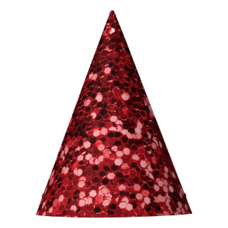 Red Faux Glitter Party Hat