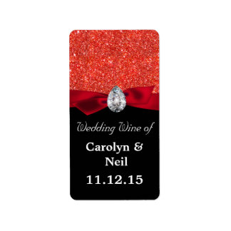Red Faux Glitter Ribbon Diamond Wedding Wine Label