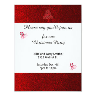 Red Faux Glitter Stars Christmas Party Card