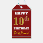 [ Thumbnail: Red, Faux Gold 10th Birthday + Custom Name Gift Tags ]