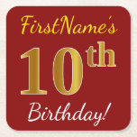 [ Thumbnail: Red, Faux Gold 10th Birthday + Custom Name Paper Coaster ]
