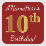 [ Thumbnail: Red, Faux Gold 10th Birthday + Custom Name Sticker ]