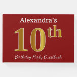 [ Thumbnail: Red, Faux Gold 10th Birthday Party + Custom Name Guest Book ]