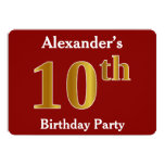 [ Thumbnail: Red, Faux Gold 10th Birthday Party + Custom Name Invitation ]