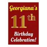 [ Thumbnail: Red, Faux Gold 11th Birthday Celebration + Name Invitation ]